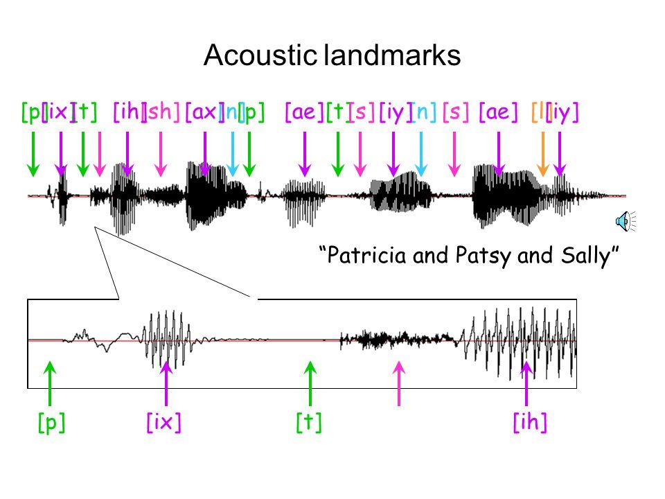 Acoustic landmarks [p] [t] [ix] [ih] [ax] [ae] [iy] [sh] [s] [n] [l]
